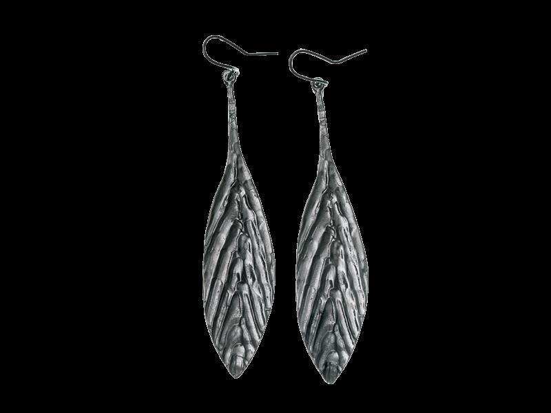 Ohrhänger, Ohrringe Feder aus echt Silber