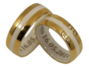 Model Clarissa - 2 couple rings ceramic and stainless steel