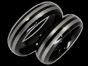 Modell Lois - 2 Partnerringe aus Wolfram in silber und schwarz
