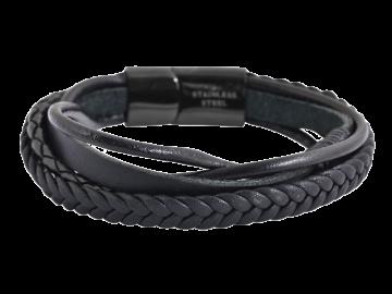 5-reihiges Armband Ned aus Leder schwarz