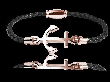 Geflochtenes Armband Anker Echtleder schwarz