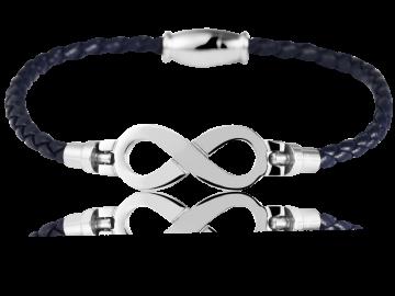 Geflochtenes Armband Unendlichkeit Echtleder dunkelblau