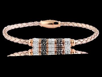 Geflochtenes Armband Echtleder beige mit Strassperlen