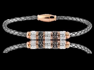 Geflochtenes Armband Echtleder grau mit Strassperlen