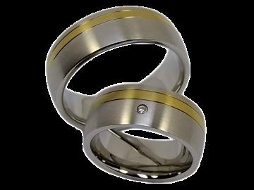 Modell Jennifer - 2 Diamantringe aus Edelstahl