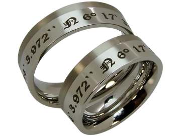 Model Liesel - 2 coordinate rings stainless steel and titanium