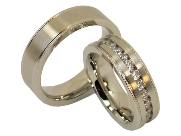 Model Antoinette - 2 wedding rings made of stainless steel