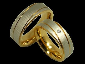 Modell Steffi - 2 Diamantringe aus Edelstahl