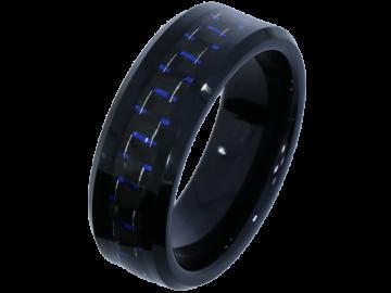 Modell Athena - 2 Hochzeitsringe aus Wolfram mit Carboneinlage