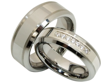 Model Eros - pair of wedding rings tungsten
