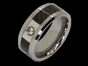 Modell Leander - 2 Hochzeitsringe aus Wolfram mit Carboneinlage
