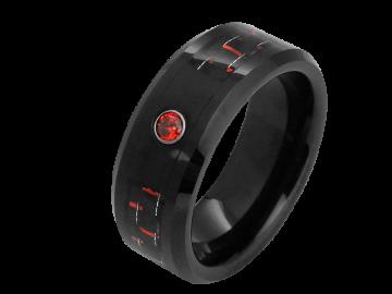Modell Camille - 1 Ring aus Wolfram mit Carboneinlage