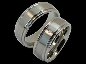 Model Romy - 2 diamond wedding rings made of stainless steel