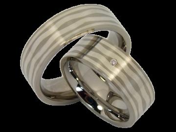 Modell Helen - 2 Ringe aus Edelstahl&Silber