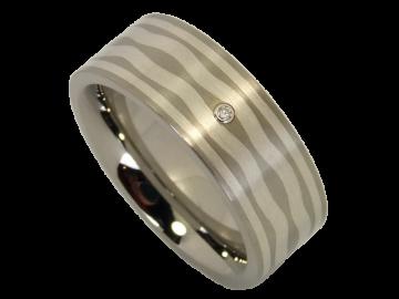Modell Helen - 1 Diamantring aus Edelstahl und Silber