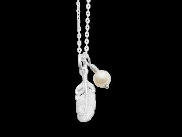 Kette Feder mit Perle 40 cm aus 925er Sterling-Silber