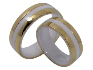 Model Clarissa - 2 wedding rings ceramic and stainless steel