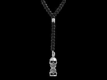 Kugelkette mit schwarzem Onyx und Totenkopf Anhänger