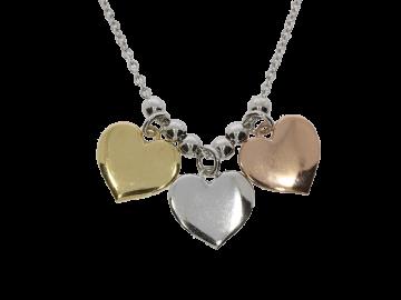 Kette mit Anhänger 3 Herzen 925er Silber