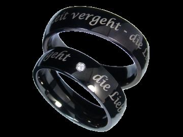 Modell Theresa - 2 schwarze Diamantringe aus Edelstahl