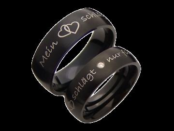 Modell Rosalie - 2 schwarze Diamantringe aus Edelstahl