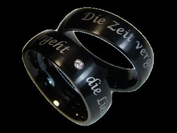 Modell Edgar - 2 schwarze Diamantringe aus Edelstahl
