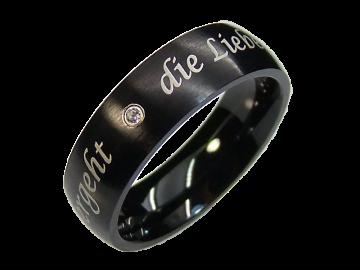 Modell Edgar - 1 schwarzer Diamantring aus Edelstahl