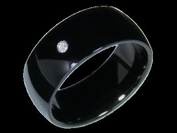 Modell Bella - 1 schwarzer Diamantring aus Edelstahl