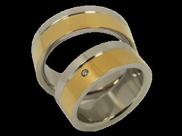 Modell Marie - 2 Diamantringe aus Edelstahl