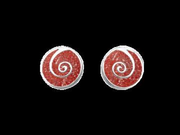 Ohrstecker Koralle & Spirale aus 925er Sterling-Silber