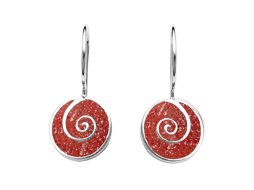 Ohrhänger Koralle & Spirale aus 925er Sterling-Silber