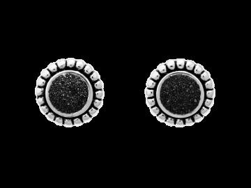 Ohrstecker Kugel & Lavasand aus 925er Sterling-Silber