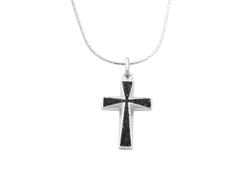 Anhänger Kreuz schwarz aus 925er Sterling-Silber