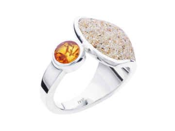 Modell Strandsand & Bernstein - 1 Ring aus 925er Silber