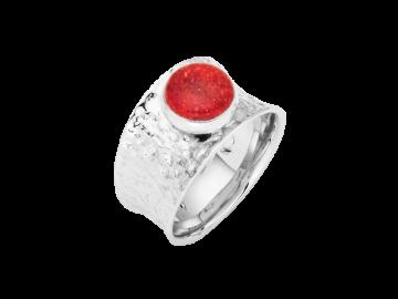 Modell Feuerrot - 1 Ring aus Silber mit Korallenscheibe