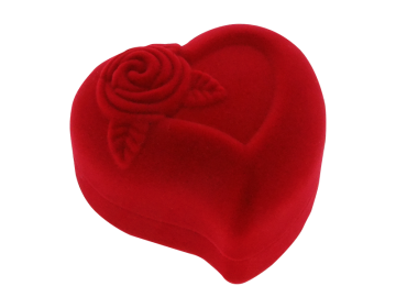Ring box jewelry box heartshaped velvet red
