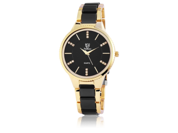 Pierrini ladies wristwatch with stainless steel strap black&gold