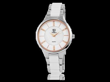 Pierrini ladies wristwatch white&silver gold index
