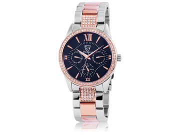 Pierrini ladies watch with stainless steel strap silver&rosegold