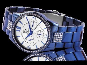 Pierrini Damenuhr mit Edelstahlarmband blau