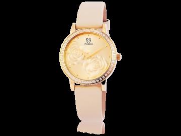 Pierrini Damenuhr mit Echtlederarmband Rose beige