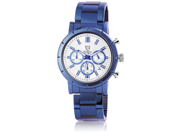 Pierrini Herrenuhr mit Edelstahlarmband blau