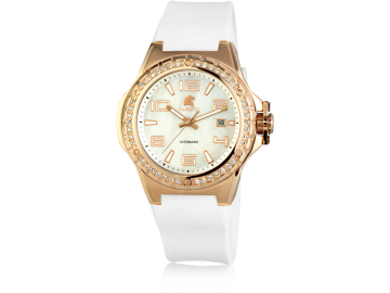 Carucci CA2213 automatic ladies watch white&rosegold